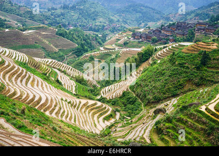 Village on Yaoshan Mountain in Guangxi, China. - Stock Photo