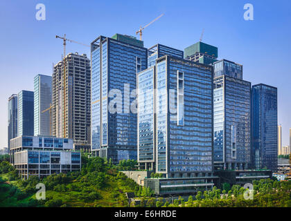 Modern office buildings newly built in Chongqing, China. - Stock Photo