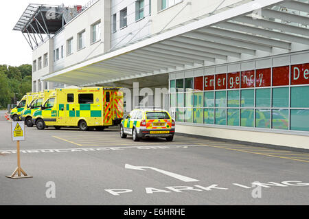 East Of England ambulance service NHS emergency SOS 999 ambulances parked at A&E Broomfield hospital accident & - Stock Photo