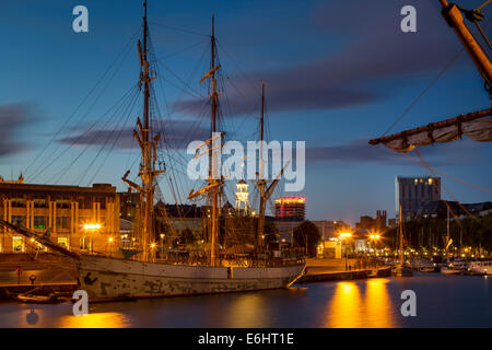 Three masted SS Kaskelot docked in the historic town of Bristol, England - Stock Photo