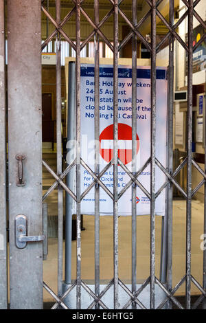 Closed Ladbroke Grove Tube Station closed for Notting Hill Carnival, London - Stock Photo