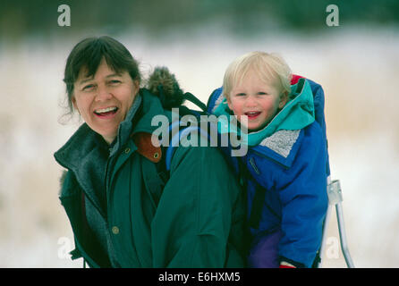 Laurie and Bucky Brownell on winter hike  (R) - Stock Photo