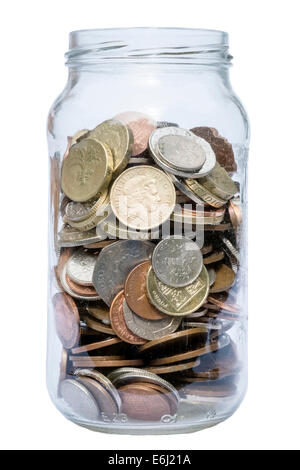Jam jar full of coins cut out or isolated on a white background. - Stock Photo