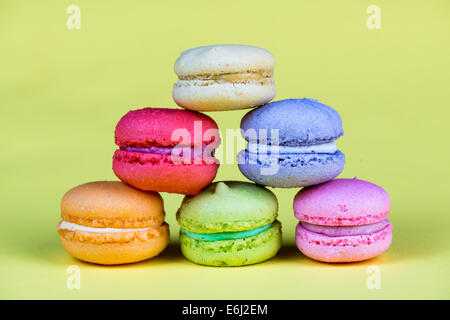 Delicious group of fresh and sweet  macarons isolated - Stock Photo
