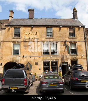 The White Hart, Stow-on-the-Wold, The Cotswolds, Gloucestershire, England, U.K. - Stock Photo