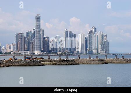 Skyline view of Panama City showing the modern buildings of Punta Pacífica and Paitilla. - Stock Photo