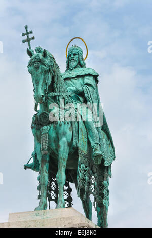 Statue of St Stephen at the Fisherman's Bastion Budapest Hungary - Stock Photo