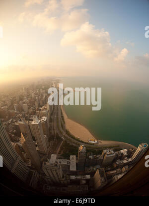 An aerial view of Lake Shore Drive, the Gold Coast, Lake Michigan, Oak Street Beach, and North Avenue Beach. Chicago, - Stock Photo