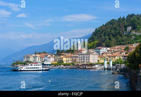 Car ferry approaching the dock in Bellagio, Lake Como, italian Lakes, Lombardy, Italy - Stock Photo