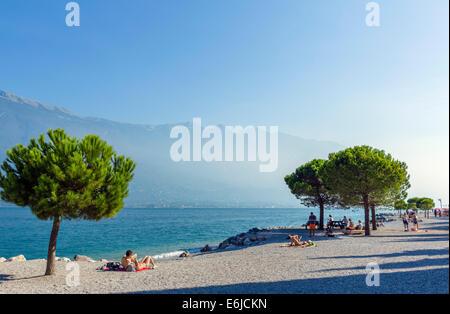 The beach in Limone sul Garda, Lake Garda, Lombardy, Italy - Stock Photo