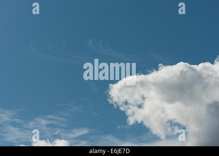 skyscape of dramatic puffy cotton wool cloud cumulus with higher altostratus and high altitude cirrus against deep - Stock Photo