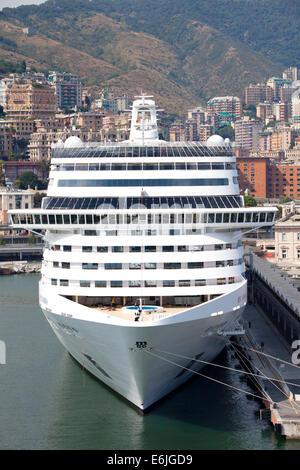 Genoa, Italy, the cruise ship MSC Splendida in Genoa port ...