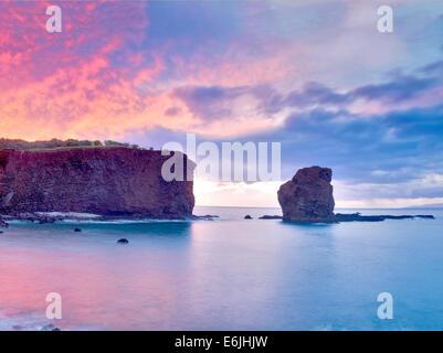 Sweetheart Rock at sunset. Lanai, Hawaii - Stock Photo