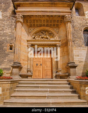 Southern Renaissance portal of the St. George's Basilica, Prague. Hdr image. - Stock Photo