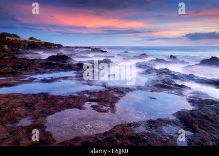 Sunset and tidepools. Lanai, Hawaii - Stock Photo