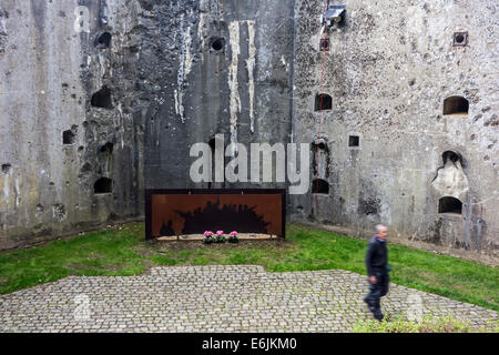 Bullet-scarred wall in the Fort de Loncin, one of twelve forts built as part of the Fortifications of Liège during - Stock Photo