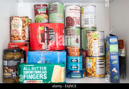 Tinned food produce in a kitchen cupboard UK - Stock Photo