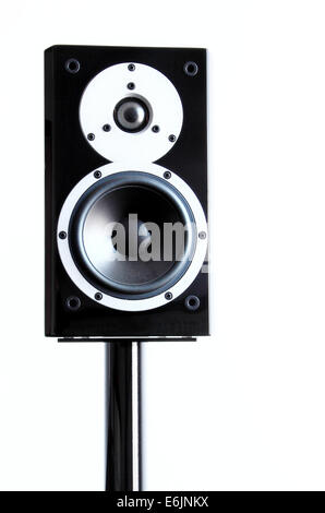 Black audio speakers on a stand isolated on white background