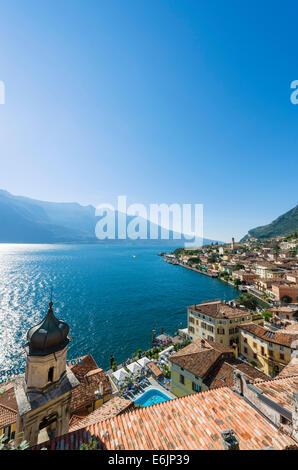 Lake Garda. View over the town and harbour in Limone sul Garda, Lake Garda, Lombardy, Italy - Stock Photo