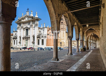 Portico round the Palazzo Ducale looking towards the Duomo, Piazza Sordello, Mantua, Lombardy, Italy - Stock Photo