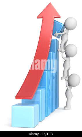 The dude x 3 helping increase blue bar diagram. Red arrow. - Stock Photo