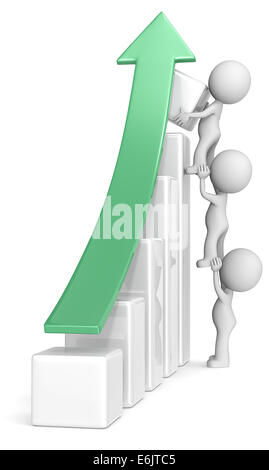 The dude x 3 helping increase bar diagram. Green arrow. - Stock Photo