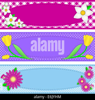 Jpg.  Three borders with oval copy space, flowers, stripes, gingham and dots in pink, purple, blue, yellow, white - Stock Photo