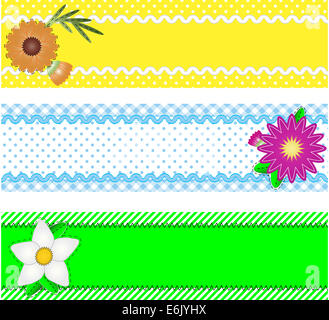 Jpg.  Three borders with copy space, flowers, stripes, gingham and dots in green, blue, yellow, white while containing - Stock Photo