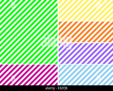 Jpg.  Seamless, continuous, diagonal striped background in six spring colors. - Stock Photo