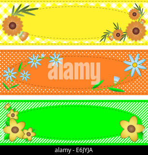 3 jpg oval copy space designs in yellow, orange & green trimmed with flowers, stripes, polka dots, gingham, containing - Stock Photo