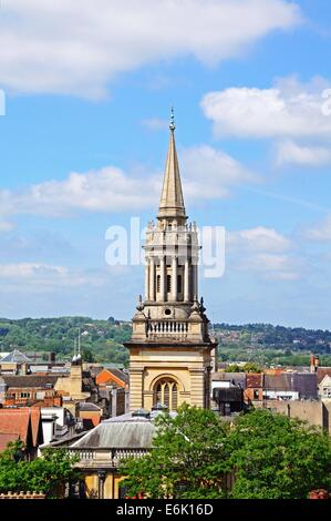 Elevated view of Lincoln College Library spire seen from the University church of St Mary spire, Oxford, Oxfordshire, - Stock Photo