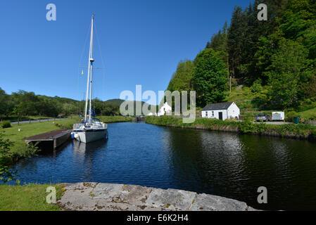Sailing yacht, Crinan Canal, Oban, Scotland, United Kingdom - Stock Photo
