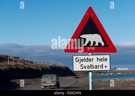 Polar Bear warning sign, Longyearbyen, Spitsbergen, Svalbard Archipelago, Svalbard and Jan Mayen, Norway - Stock Photo