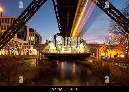 Station Ohligsmühle of the Wuppertal Suspension Railway with the Wupper River, Wuppertal, North Rhine-Westphalia, - Stock Photo