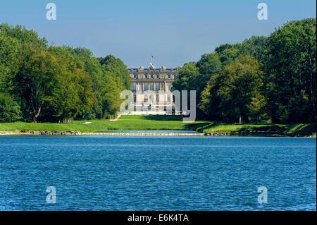Herrenchiemsee New Palace, Schlosspark palace gardens, Herreninsel island, Chiemsee lake, Chiemgau, Upper Bavaria, - Stock Photo