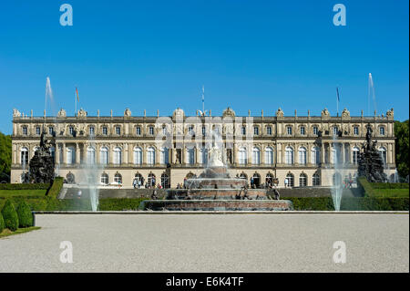 Herrenchiemsee New Palace, Fountain of Latona, Schlosspark palace gardens, Herreninsel island, Chiemsee lake, Chiemgau - Stock Photo