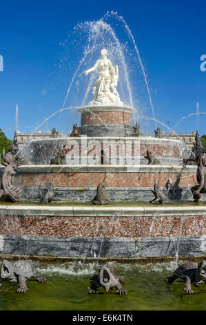 Fountain of Latona, Herrenchiemsee New Palace, Schlosspark palace gardens, Herreninsel island, Chiemsee lake, Chiemgau - Stock Photo