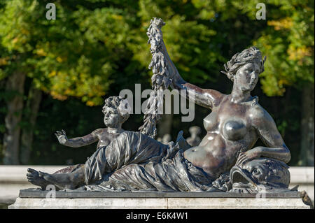 Mythological fountain statue at the fountain pool in the water parterre, Herrenchiemsee Palace, Herrenchiemsee, - Stock Photo