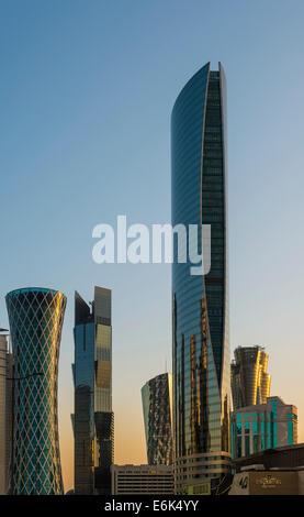 Skyscrapers, Doha, Qatar, United Arab Emirates - Stock Photo