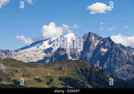 View from Sella Pass towards Marmolada Mountain, Dolomites, Alto Adige, Italy - Stock Photo