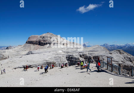 View towards Piz Boe Mountain, Sella Group, Dolomites, Trentino province, Italy - Stock Photo
