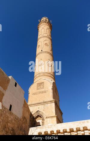 Minaret of the Great Mosque, Ulu Camii, Mardin, Southeastern Anatolia Region, Anatolia, Turkey - Stock Photo