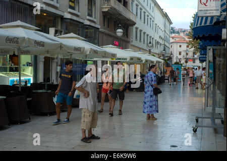 Early evening in the town Centre Rijeka Croatia - Stock Photo