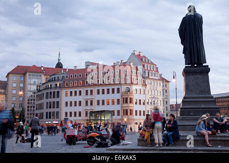 Martin Luther statue  on Neumarkt new market square  in Dresden, Saxony, Germany, Europe - Stock Photo