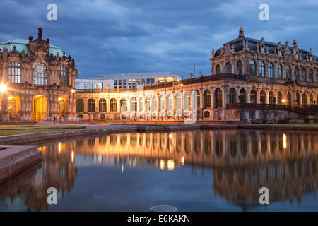 the Zwinger in Dresden at night, Saxony, Germany, Europe - Stock Photo