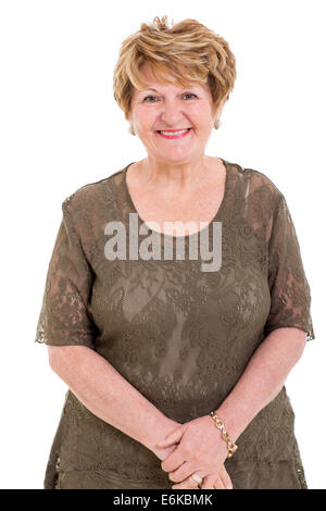 portrait of happy elderly woman on white background - Stock Photo