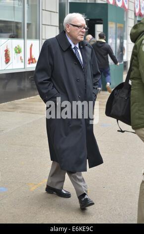 American businessman Warren Buffett leaving NPR Radio Studios  Featuring: Warren Buffett Where: Manhattan, New York, - Stock Photo