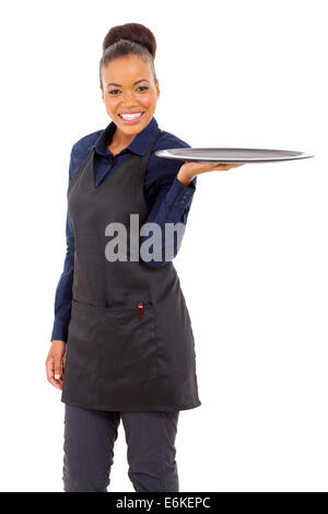 attractive young waitress with an empty tray - Stock Photo