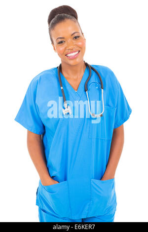 portrait of happy African American nurse isolated on white