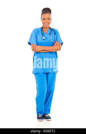 smiling African medical professional full length portrait isolated on white - Stock Photo